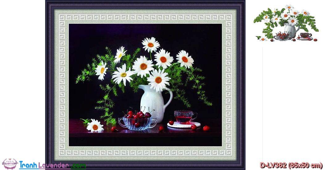 Tranh đính đá hoa Cúc Họa Mi LV362, kích thước 65x50 cm