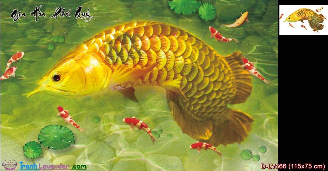 Tranh đính đá Cá Rồng cửu ngư Gia Hòa Phú Quý LV366, kích thước 115x75 cm