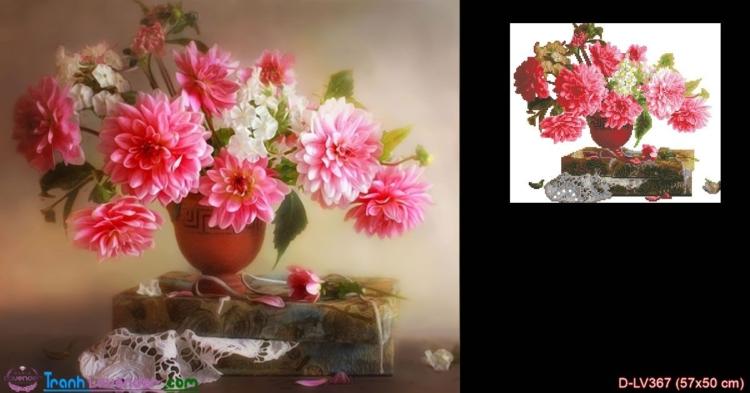 Tranh đính đá hoa Thược Dược đón nắng mai LV367, kích thước 57x50 cm
