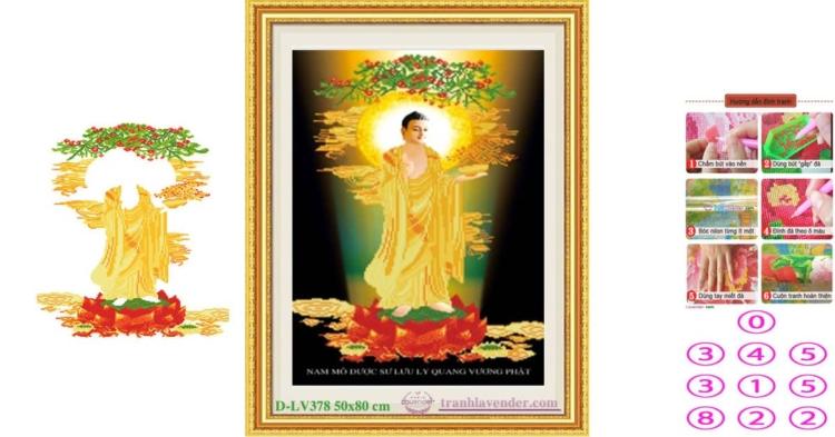 Tranh đính đá Dược Sư Lưu Ly Quang Vương Phật LV378 kích thước lớn nhỏ 50x80 cm