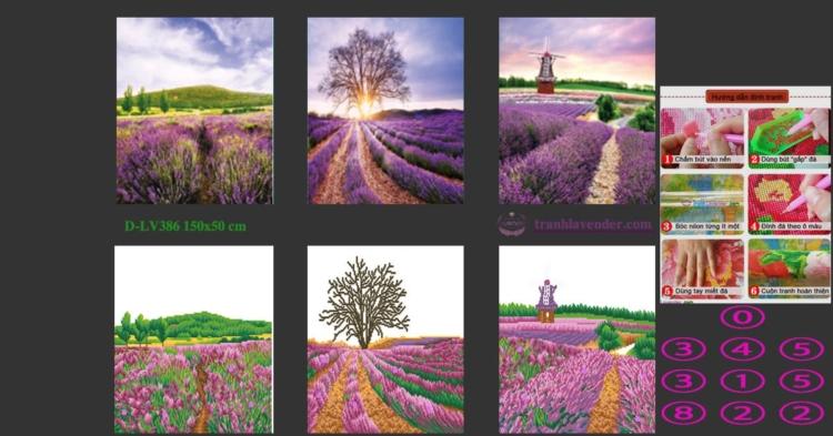 Tranh đính đá hoa Oải Hương - Hương sắc Lavender (Bộ 3) LV386 kích thước lớn nhỏ 150x50 cm
