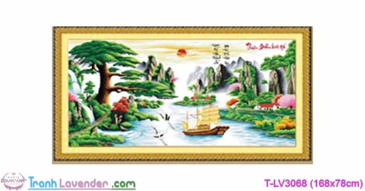 LV3068 Tranh thêu chữ thập Thuận buồm xuôi gió Lavender 168x78 cm