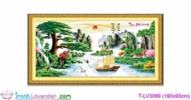 [T-LV3069] Tranh thêu chữ thập Thuận Buồm Xuôi Gió (kích thước lớn 190x93cm)