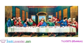 [T-LV3073] Tranh thêu chữ thập Bữa tiệc ly (kích thước nhỏ 85x44cm)