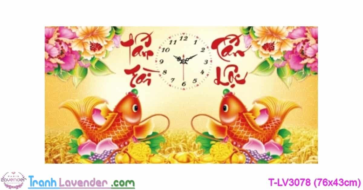 [T-LV3078] Tranh thêu chữ thập Đồng Hồ Tấn Tài Tấn Lộc (kích thước nhỏ 76x43cm)