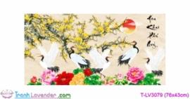 [T-LV3079] Tranh thêu chữ thập Hoa Khai Phú Quý (kích thước nhỏ 76x43cm)