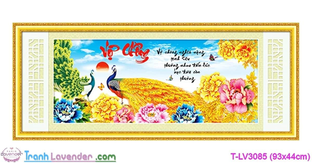 [T-LV3085] Tranh thêu chữ thập Vợ Chồng (kích thước nhỏ 93x44cm)