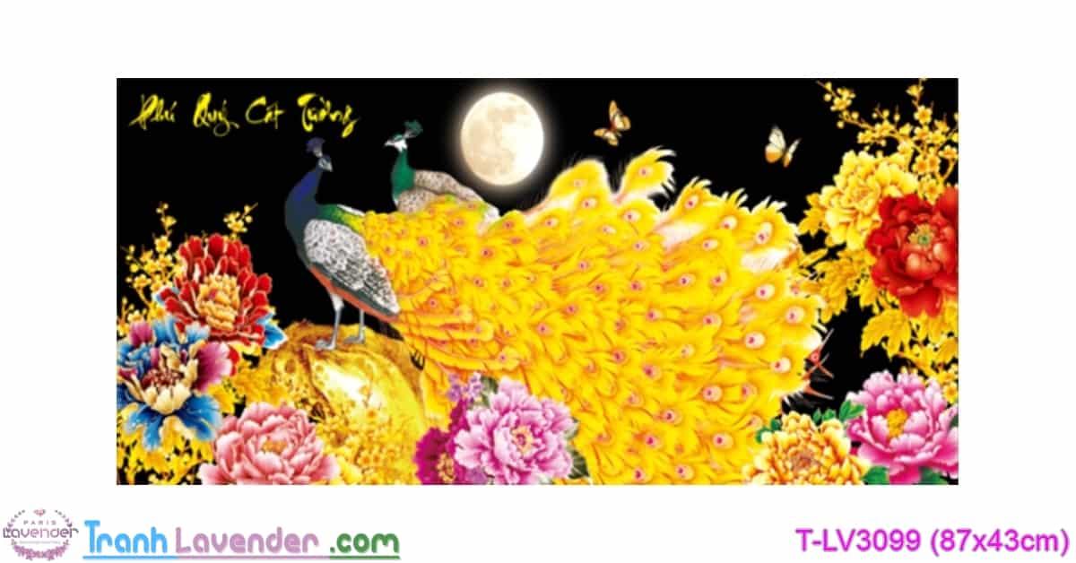 [T-LV3099] Tranh thêu chữ thập Phú Quý Cát Tường (kích thước nhỏ 87x43cm)