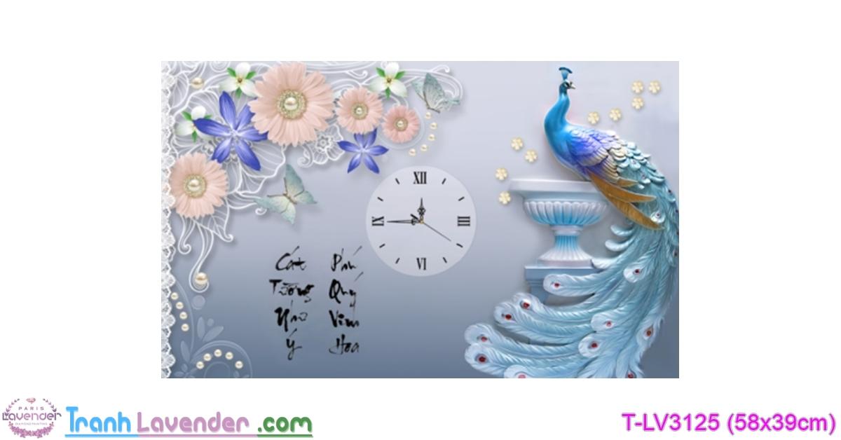[T-LV3125] Tranh thêu chữ thập Đồng Hồ Phú Quý Cát Tường (kích thước nhỏ 58x39cm)