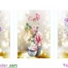 [T-LV3138] Tranh thêu chữ thập Bình Hoa Khoe Sắc (Bộ 3) (kích thước trung bình 122x42cm)