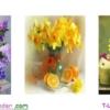 [T-LV3141] Tranh thêu chữ thập Bình Hoa Khoe Sắc (Bộ 3) (kích thước trung bình 122x42cm)