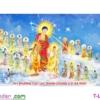 [T-LV3165] Tranh thêu chữ thập Tây Phương Cực Lạc Thánh Chúng A Di Đà Phật (kích thước trung bình 113x63cm)