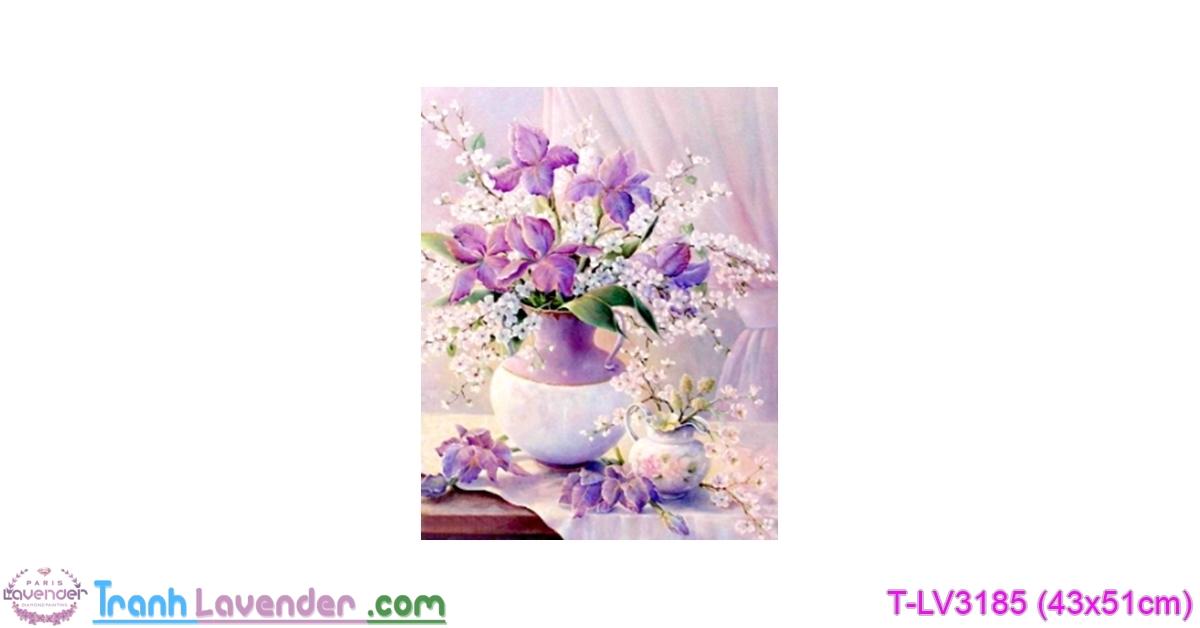[T-LV3185] Tranh thêu chữ thập Bình Hoa Khoe Sắc (kích thước nhỏ 43x51cm)