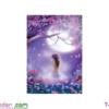 [T-LV3197] Tranh thêu chữ thập Thiếu nữ dưới trăng (kích thước nhỏ 43x63cm)