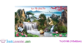[T-LV3198] Tranh thêu chữ thập Lưu Thủy Sinh Tài (kích thước trung bình 115x62cm)
