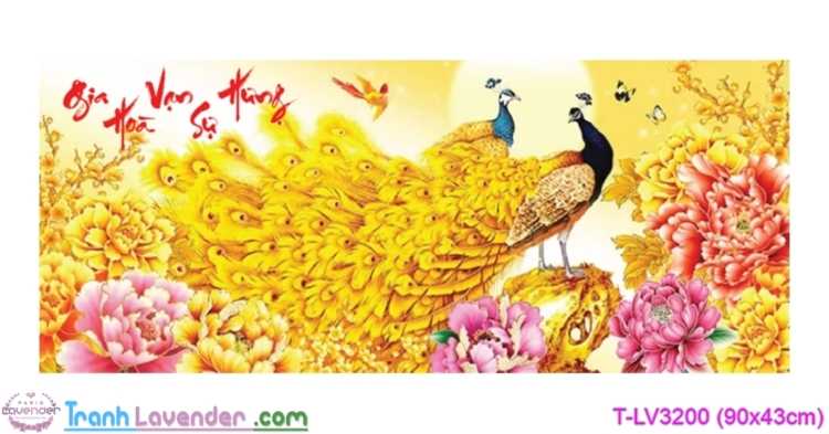 [T-LV3200] Tranh thêu chữ thập Gia Hòa Vạn Sự Hưng (kích thước nhỏ 90x43cm)