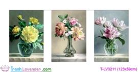 [T-LV3211] Tranh thêu chữ thập Vũ khúc hoa và bình (kích thước trung bình 123x59cm)