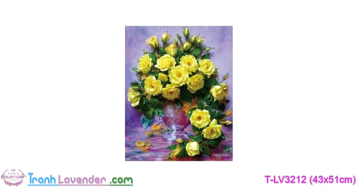 [T-LV3212] Tranh thêu chữ thập Hoa hồng vàng (kích thước nhỏ 43x51cm)