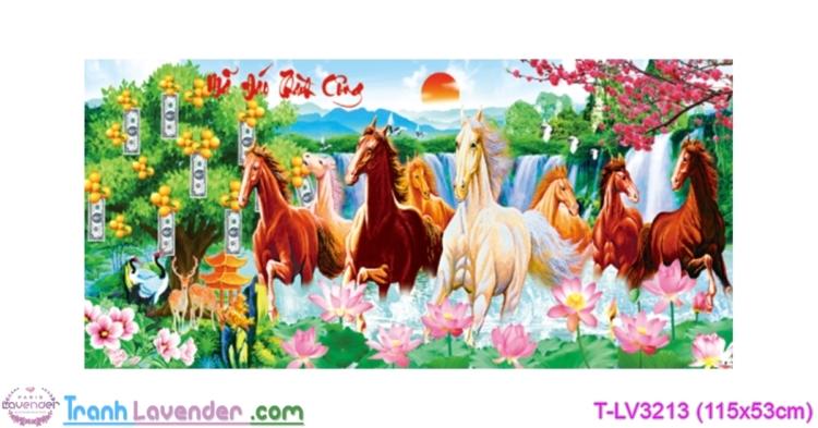 [T-LV3213] Tranh thêu chữ thập Mã Đáo Thành Công (kích thước trung bình 115x53cm)