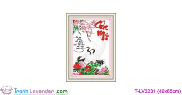 [T-LV3231] Tranh thêu chữ thập Cha mẹ (kích thước nhỏ 46x65cm)
