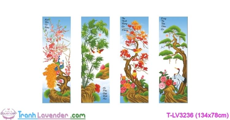 [T-LV3236] Tranh thêu chữ thập Mai Trúc Cúc Tùng (kích thước trung bình 134x78cm)