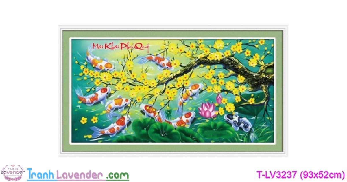 [T-LV3237] Tranh thêu chữ thập Mai Khai Phú Quý (kích thước nhỏ 93x52cm)