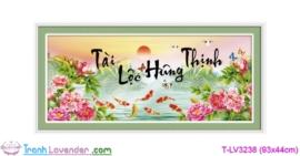 [T-LV3238] Tranh thêu chữ thập Tài Lộc Hưng Thịnh (kích thước nhỏ 93x44cm)
