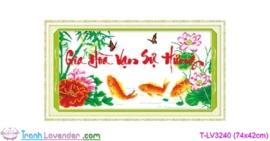 [T-LV3240] Tranh thêu chữ thập Gia Hòa Vạn Sự Hưng (kích thước nhỏ 74x42cm)