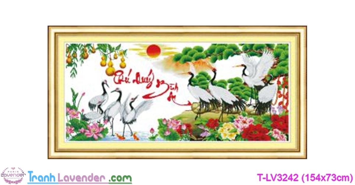[T-LV3242] Tranh thêu chữ thập Phú Quý Bình An (kích thước trung bình 154x73cm)