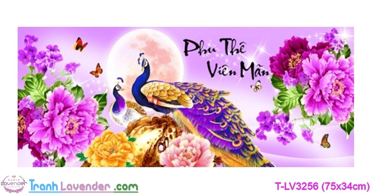 [T-LV3256] Tranh thêu chữ thập Phu Thê Viên Mãn (kích thước nhỏ 75x34cm)