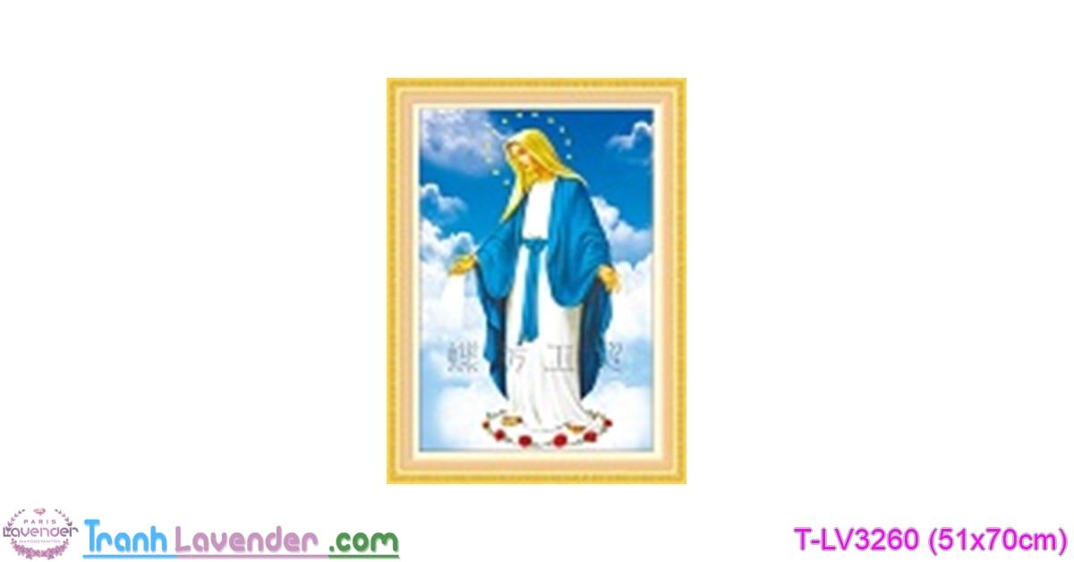 [T-LV3260] Tranh thêu chữ thập Thánh mẫu (Ôm nhân gian) (kích thước nhỏ 51x70cm)