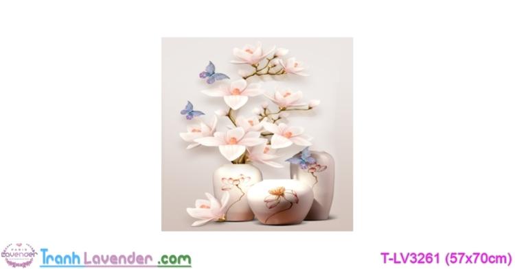 [T-LV3261] Tranh thêu chữ thập Bình hoa nghệ thuật (kích thước nhỏ 57x70cm)