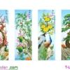 [T-LV3262] Tranh thêu chữ thập Tứ quý Tùng Cúc Trúc Mai (kích thước lớn 136x90cm)