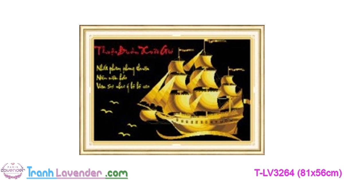 [T-LV3264] Tranh thêu chữ thập Thuận Buồm Xuôi Gió (kích thước nhỏ 81x56cm)