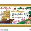 [T-LV3265] Tranh thêu chữ thập Thuận Buồm Xuôi Gió (kích thước trung bình 116x54cm)