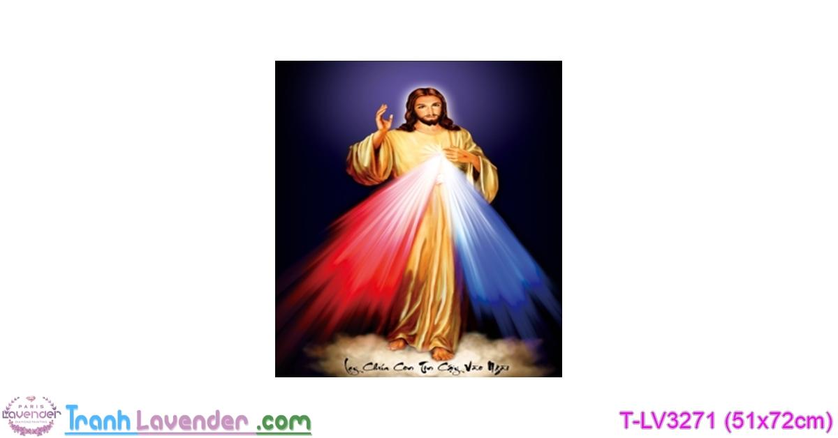 [T-LV3271] Tranh thêu chữ thập Lạy Chúa Con Tín cậy Vào Ngài (kích thước nhỏ 51x72cm)