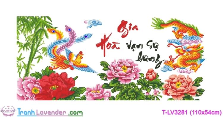 [T-LV3281] Tranh thêu chữ thập Gia Hòa Vạn Sự Hưng (Long Phượng) (kích thước trung bình 110x54cm)