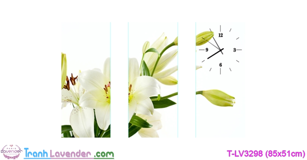 [T-LV3298] Tranh thêu chữ thập Đồng hồ hoa Lưu ly (kích thước nhỏ 85x51cm)