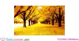[T-LV3303] Tranh thêu chữ thập Mùa thu lá vàng (kích thước trung bình 105x63cm)