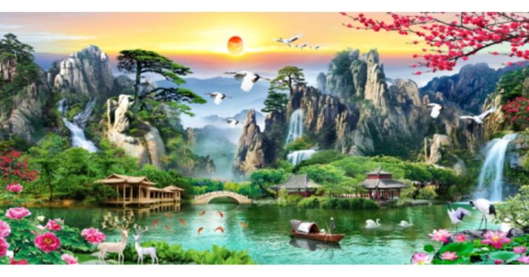 Tranh thêu chữ thập Lưu Thủy Sinh Tài ❤️ [T-LV3323]