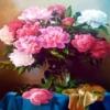 Tranh đính đá Bình hoa khoe sắc