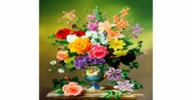 Tranh đính đá Bình hoa cổ