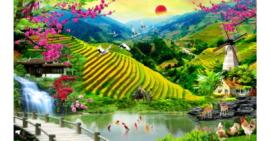 Tranh đính đá Đồng quê Việt Nam