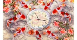 Tranh đính đá Cửu Ngư Quần Hội (đồng hồ)
