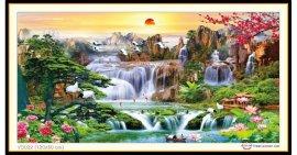 Tranh đính đá Lưu Thuỷ Sinh Tài (khổ lớn) ✅120x60 cm -️ VS022