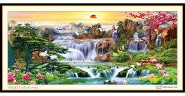 Tranh đính đá Lưu Thuỷ Sinh Tài (khổ lớn) ✅160x70 cm -️ VS023