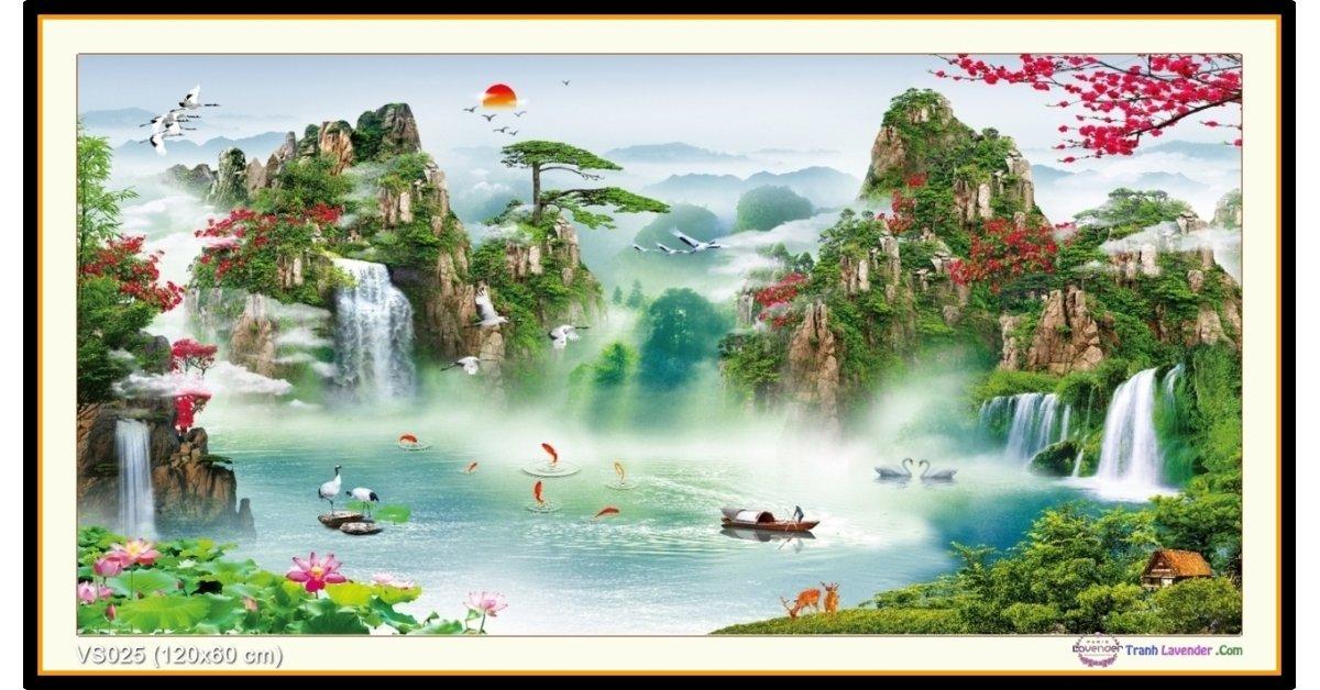 Tranh đính đá Lưu Thuỷ Sinh Tài (khổ lớn) ✅120x60 cm -️ VS025