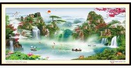 Tranh đính đá Lưu Thuỷ Sinh Tài (khổ lớn) ✅160x70 cm -️ VS026