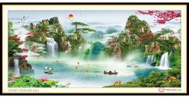 Tranh đính đá Lưu Thuỷ Sinh Tài (khổ rất lớn) ✅200x90 cm -️ VS027