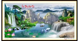 Tranh đính đá Lưu Thủy Sinh Tài (khổ lớn) ✅150x75 cm -️ VS035